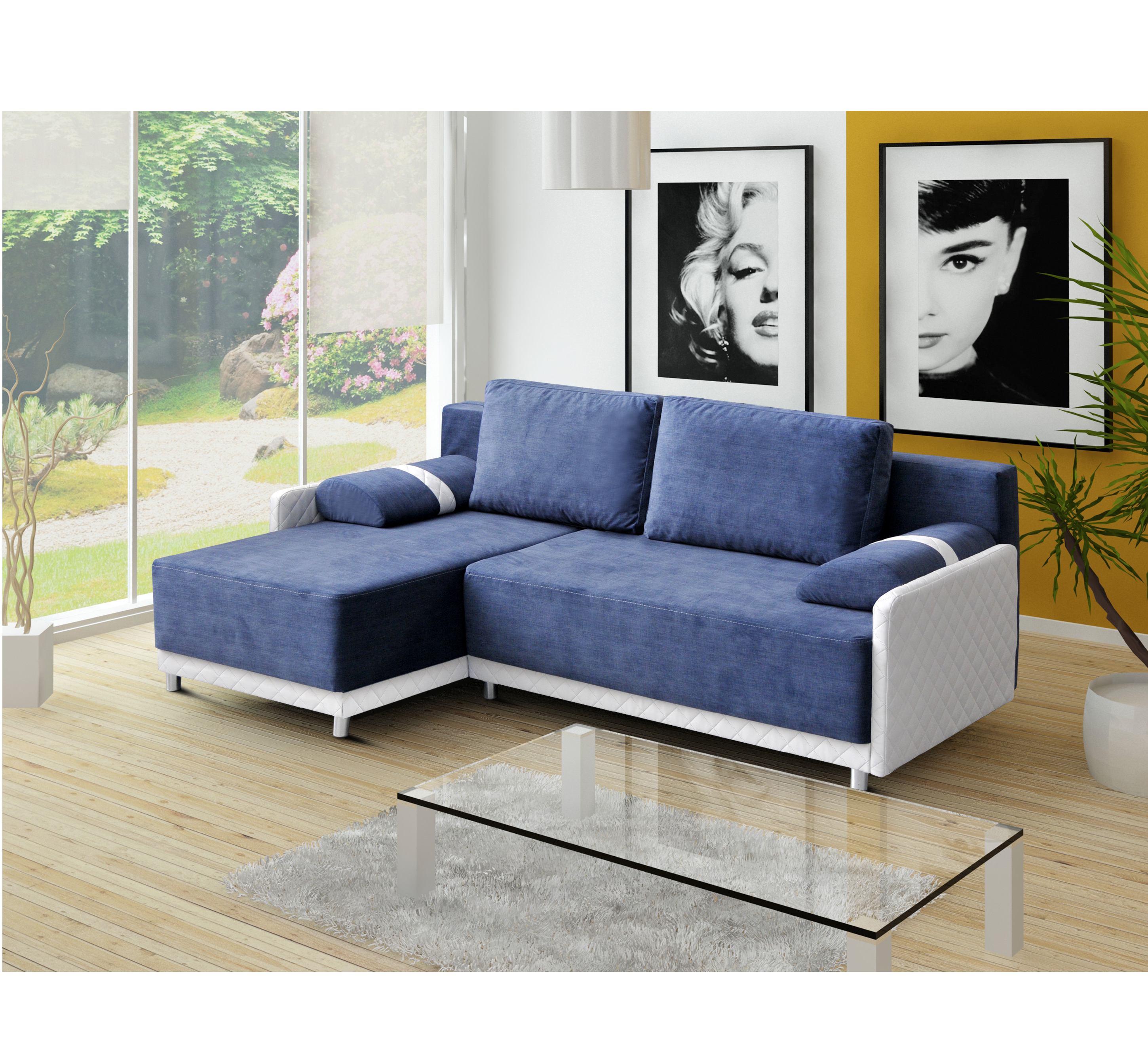 ecksofa eckcouch mit schlaffunktion und ottomane wohnlandschaft indiana blau ebay. Black Bedroom Furniture Sets. Home Design Ideas