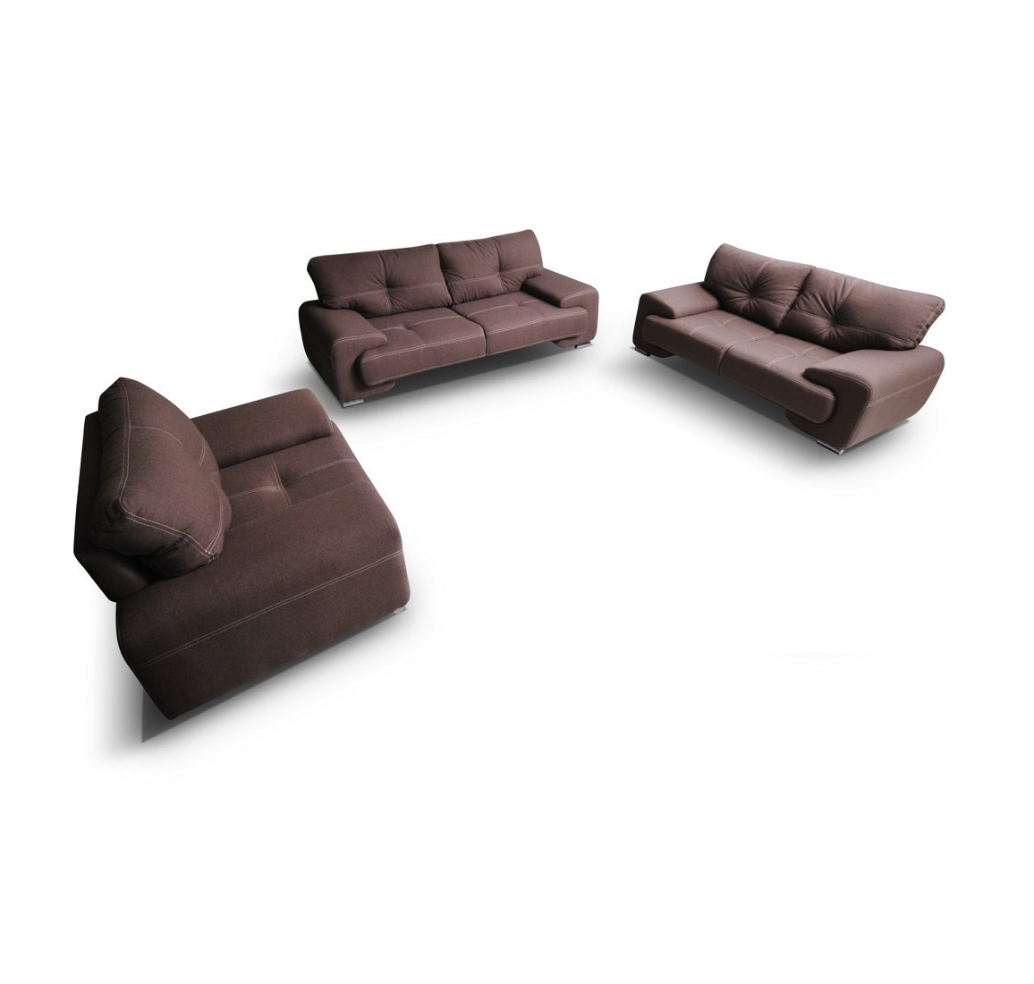 sofagarnitur sofa set couch 3er 2er sessel 3 2 1 braun stoffsofa webstoff enzo ebay. Black Bedroom Furniture Sets. Home Design Ideas