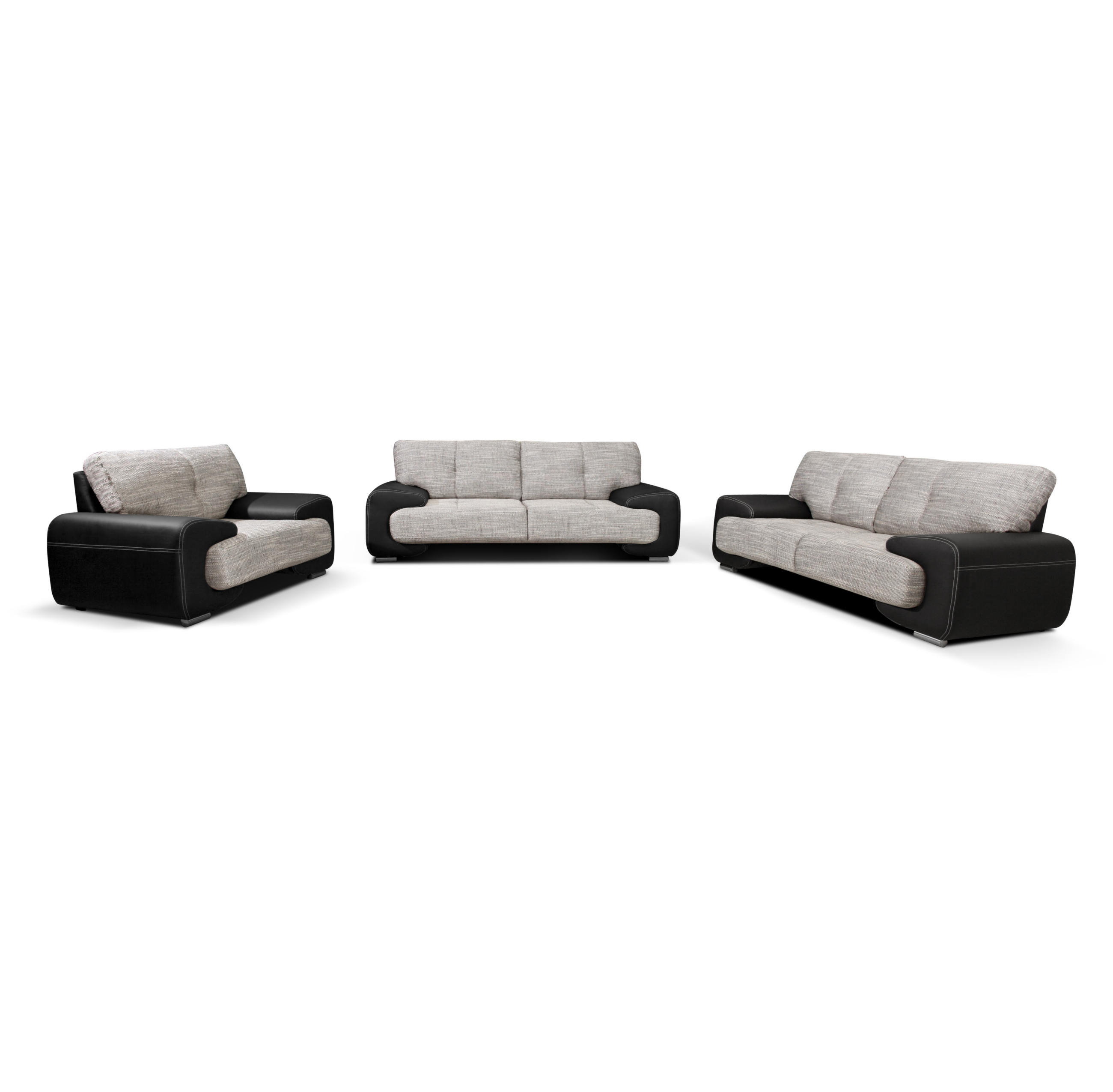wohnlandschaft sofa set couch 3er 2er sessel 3 2 1 kunstleder schwarz lorento ebay. Black Bedroom Furniture Sets. Home Design Ideas