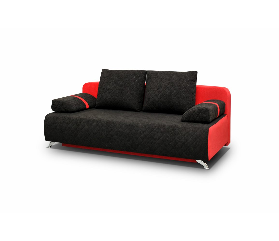 couch mit schlaffunktion sofa schlafsofa ausziehbar schwarz rot kippsofa palermo ebay. Black Bedroom Furniture Sets. Home Design Ideas
