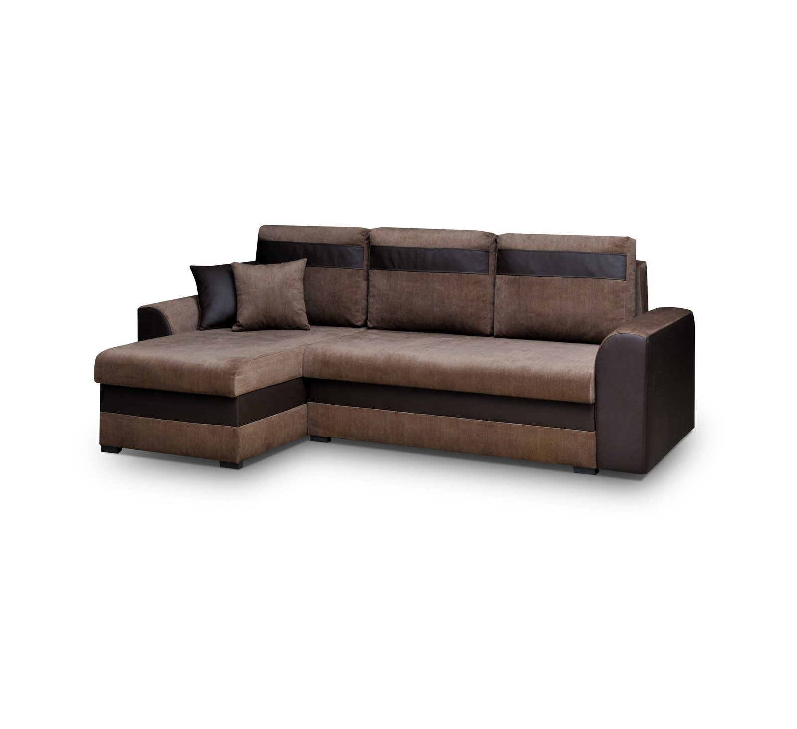 ecksofa eckcouch couch mit schlaffunktion und zwei bettkasten l form tommy braun ebay. Black Bedroom Furniture Sets. Home Design Ideas