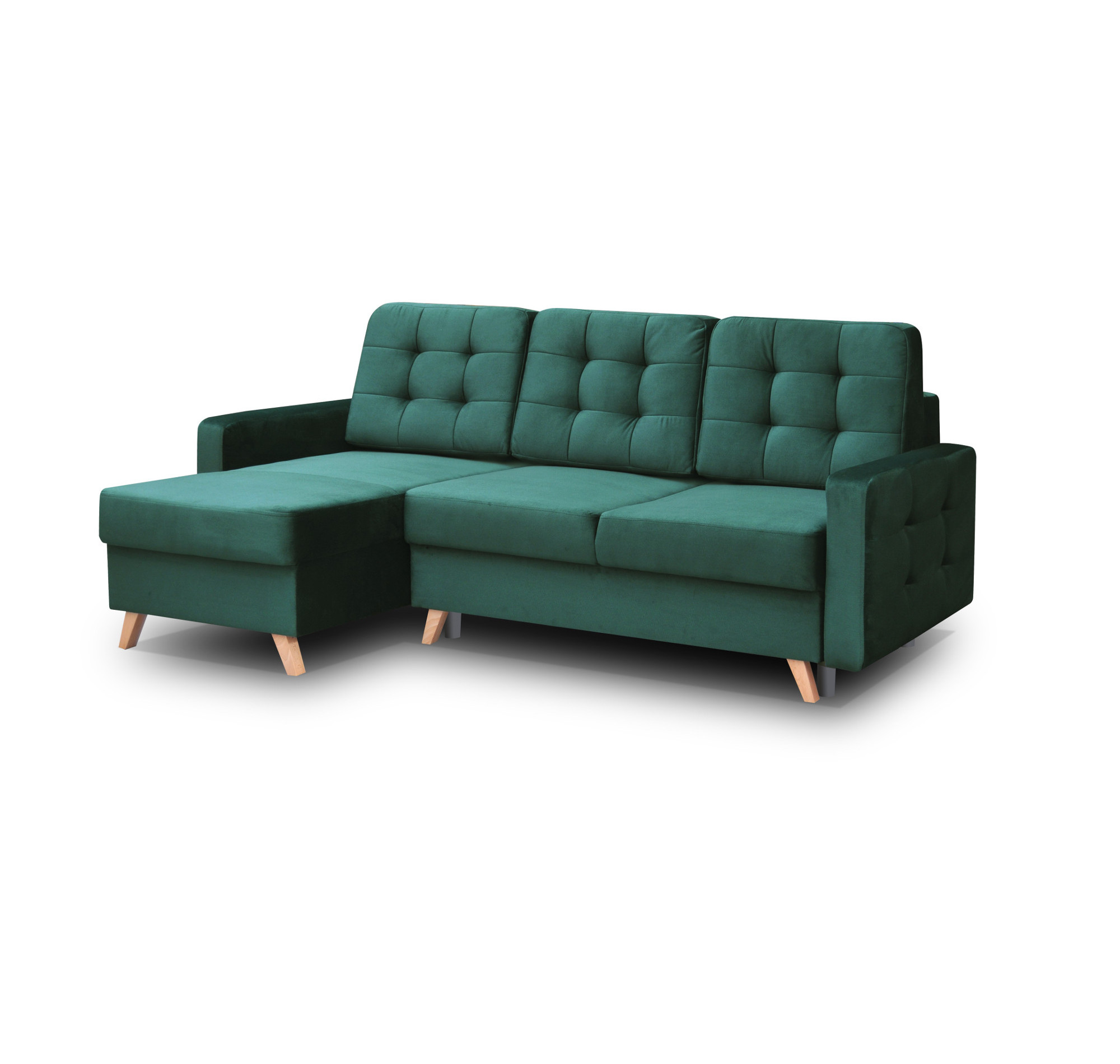 Moderne Ecksofa Couch Eckcouch mit Schlaffunktion Dunkelgrün Design Grün CARLA  eBay