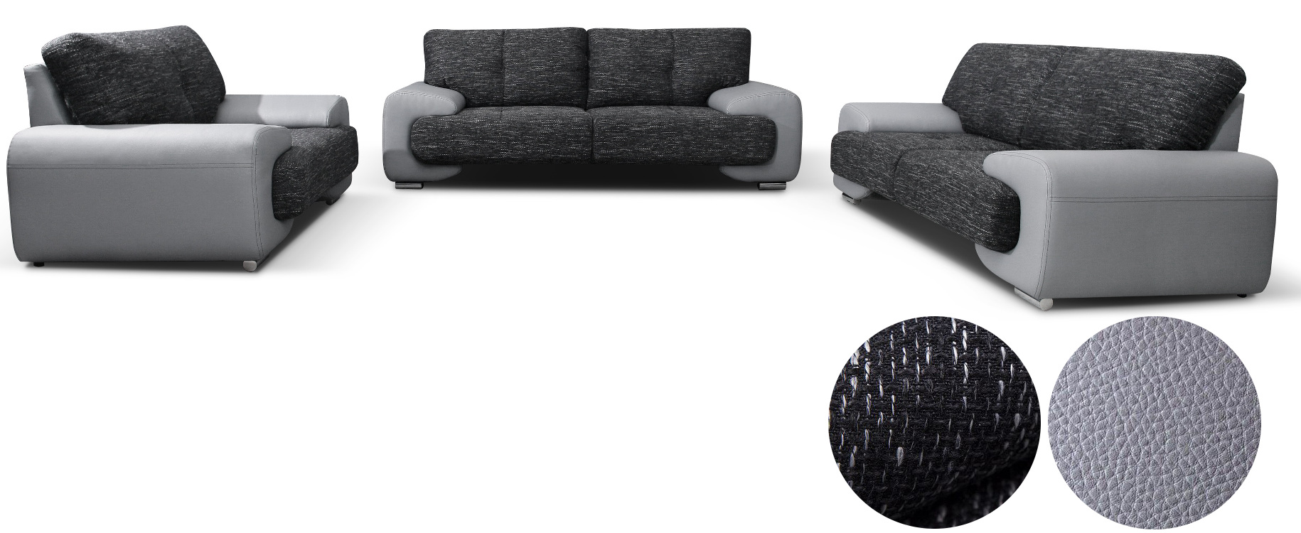 polstergarnitur sofa set couch 3er 2er sessel 3 2 1 kunstleder grau lorento ebay. Black Bedroom Furniture Sets. Home Design Ideas