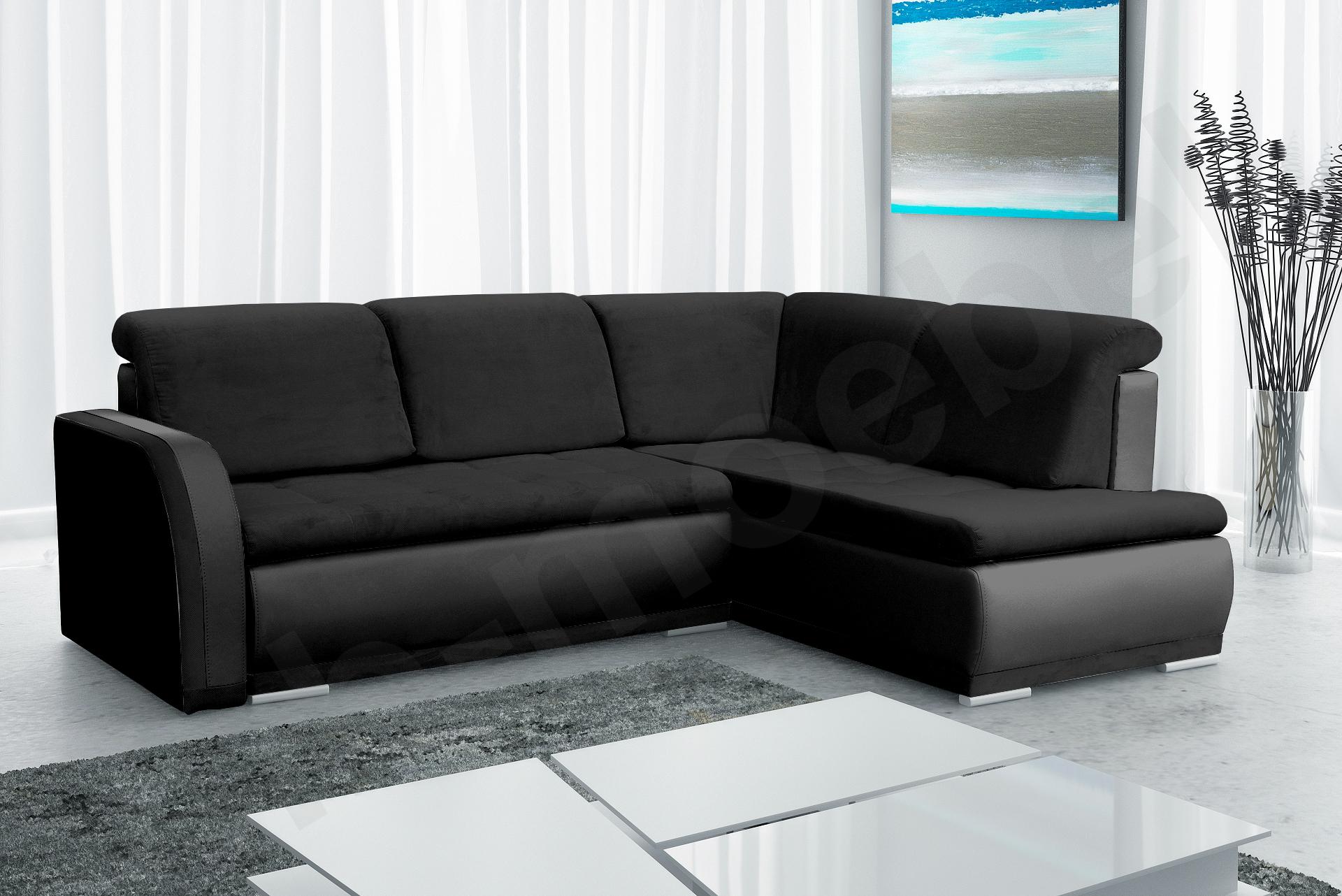 moderne ecksofa sofa wohnlandschaft sofagarnitur wohnzimmer xxl schwarz vero ii ebay. Black Bedroom Furniture Sets. Home Design Ideas