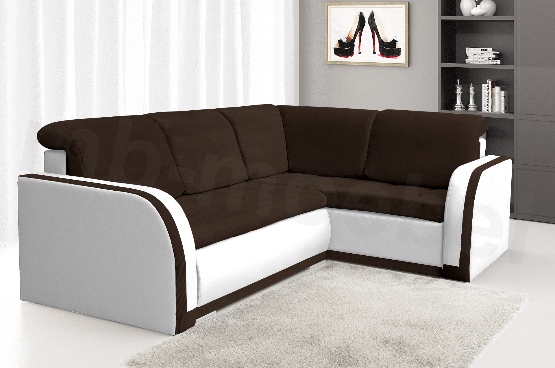 moderne ecksofa sofa eckcouch ottomane federkern l form braun wei xxl vero iii ebay. Black Bedroom Furniture Sets. Home Design Ideas