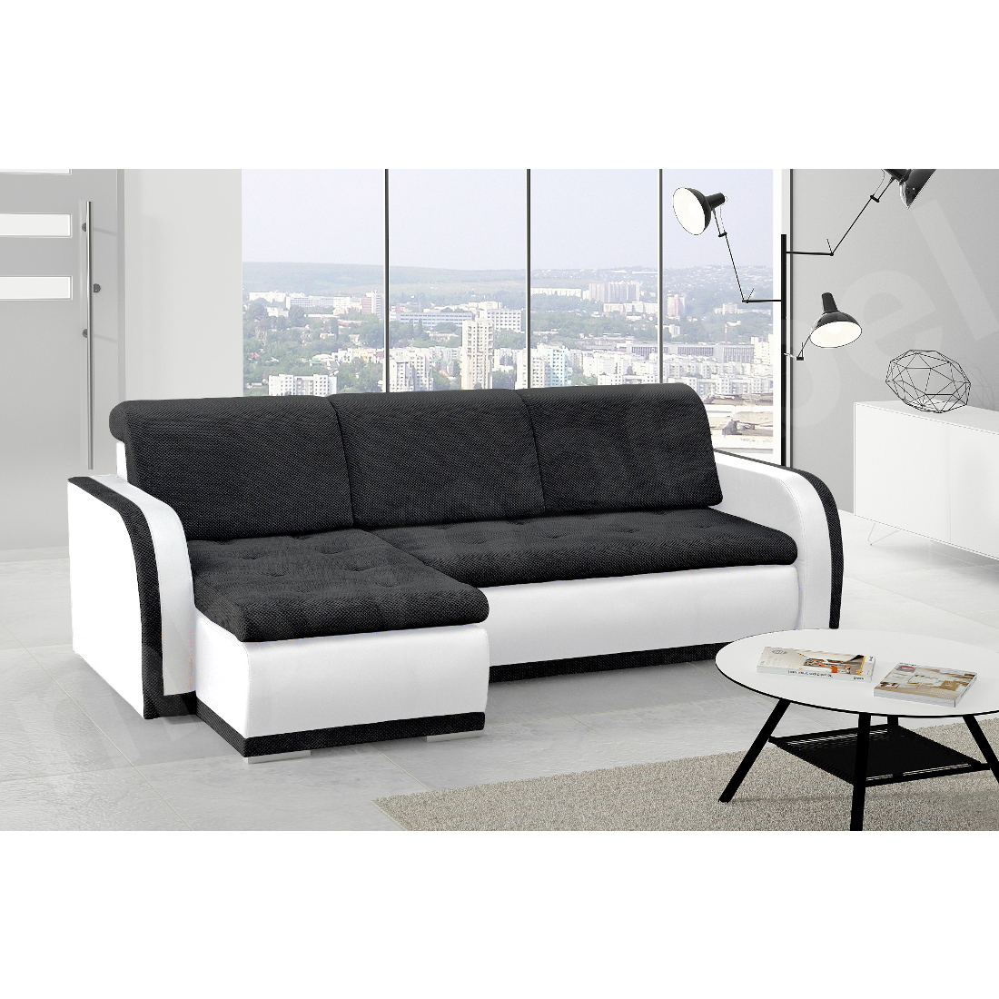 ecksofa vero i schwarz wei m bel muller braun. Black Bedroom Furniture Sets. Home Design Ideas