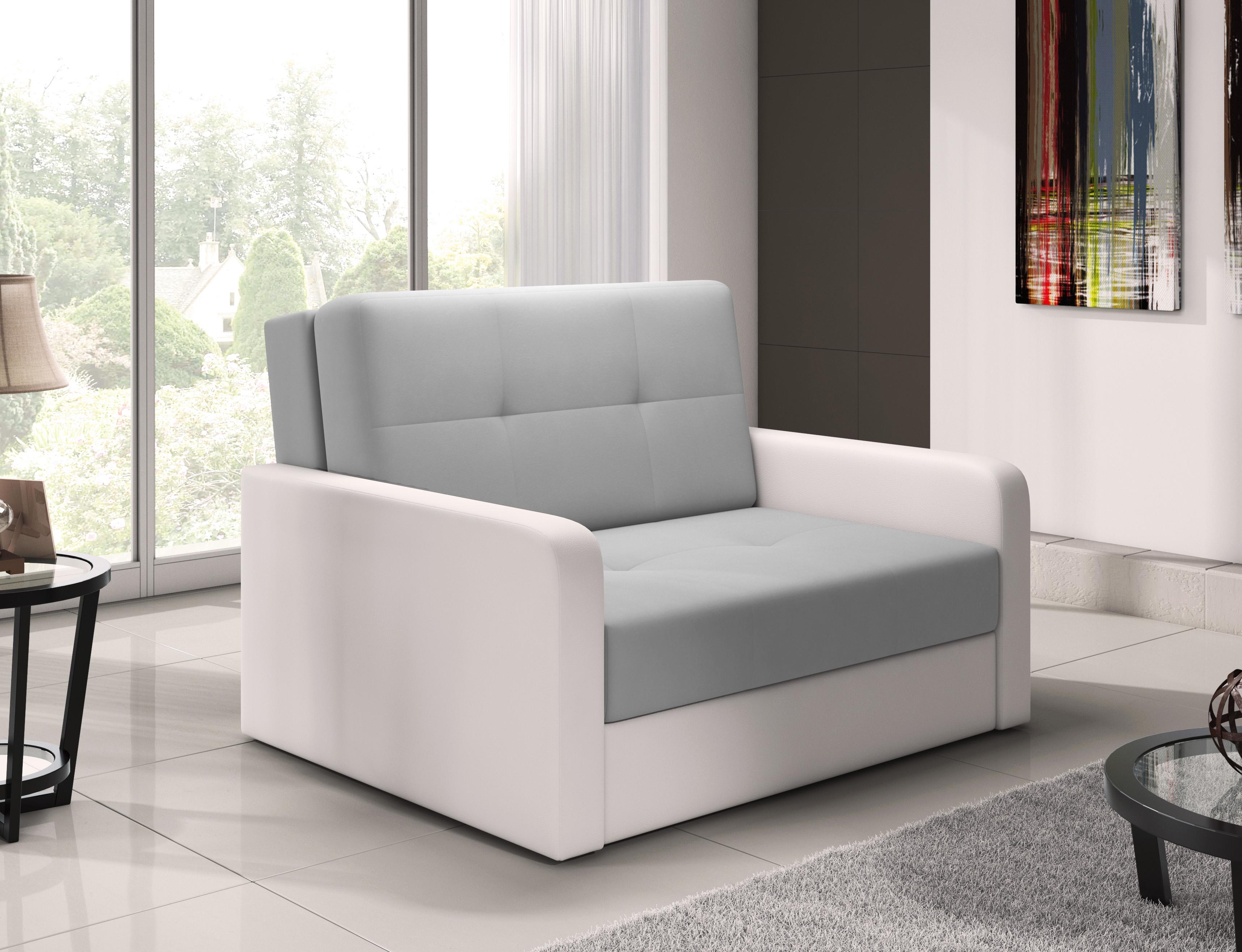 modernes kleines sofa mit schlaffunktion schlafsessel bettsessel grau wei erik2 ebay. Black Bedroom Furniture Sets. Home Design Ideas