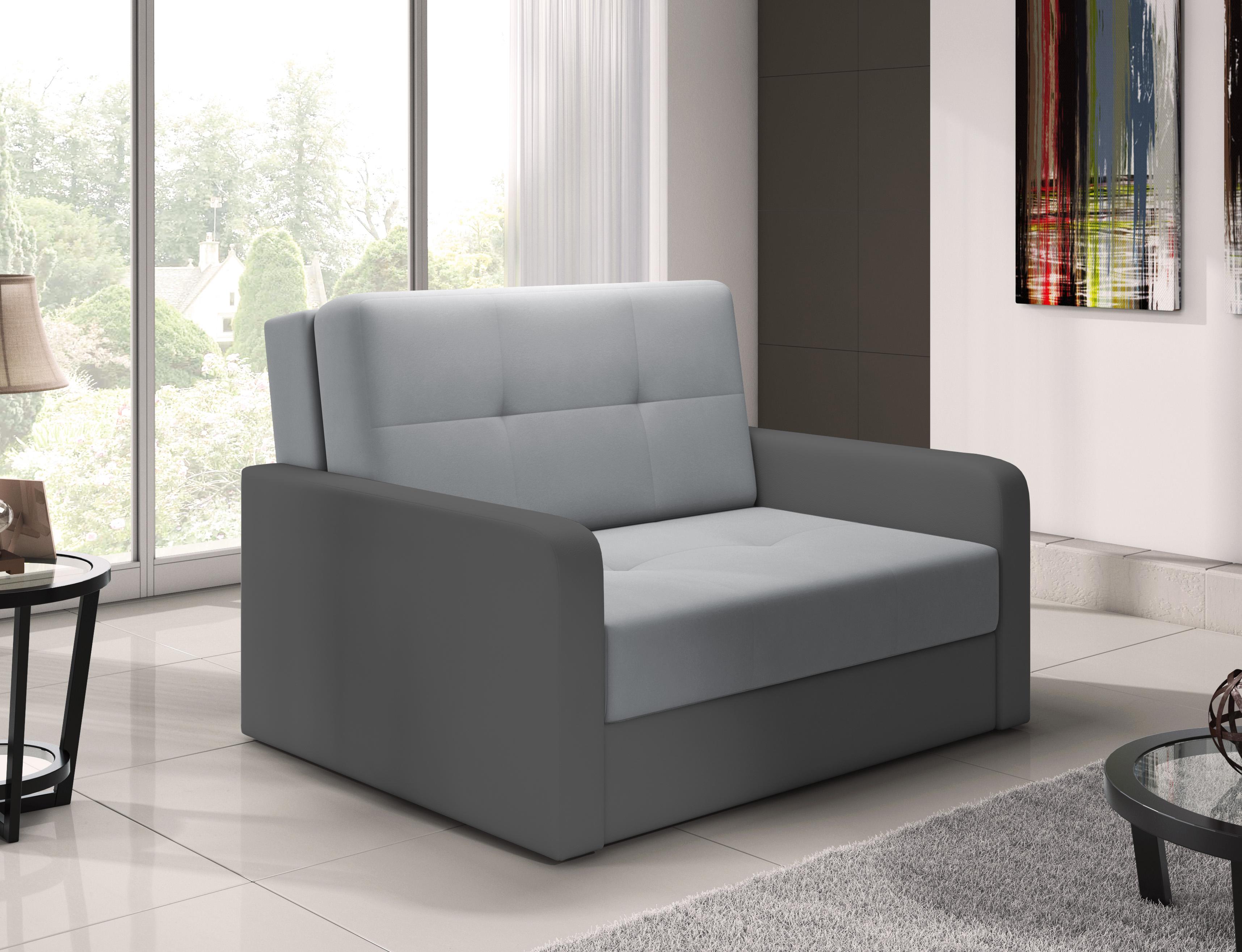 kleines sofa mit schlaffunktion schlafsessel jugendsessel couch blau grau erik2 ebay. Black Bedroom Furniture Sets. Home Design Ideas