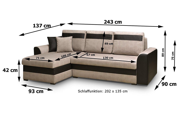 kleines ecksofa mit schlaffunktion und zwei bettkasten sofa couch beige braun ebay. Black Bedroom Furniture Sets. Home Design Ideas