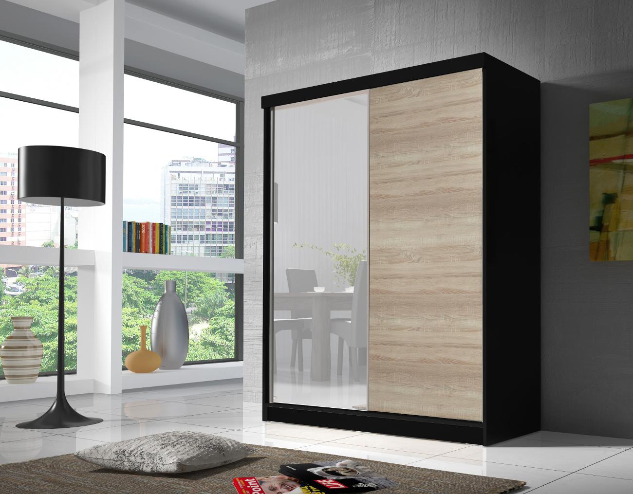kleiderschrank mit spiegel schiebe t ren schrank sonoma schwarz 160cm eva01 ebay. Black Bedroom Furniture Sets. Home Design Ideas