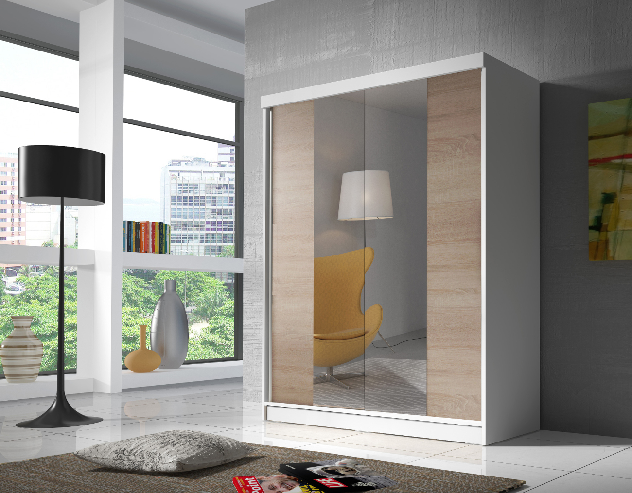 kleiderschrank mit spiegel schwebet renschrank sonoma eiche wei 160 cm eva02 ebay. Black Bedroom Furniture Sets. Home Design Ideas