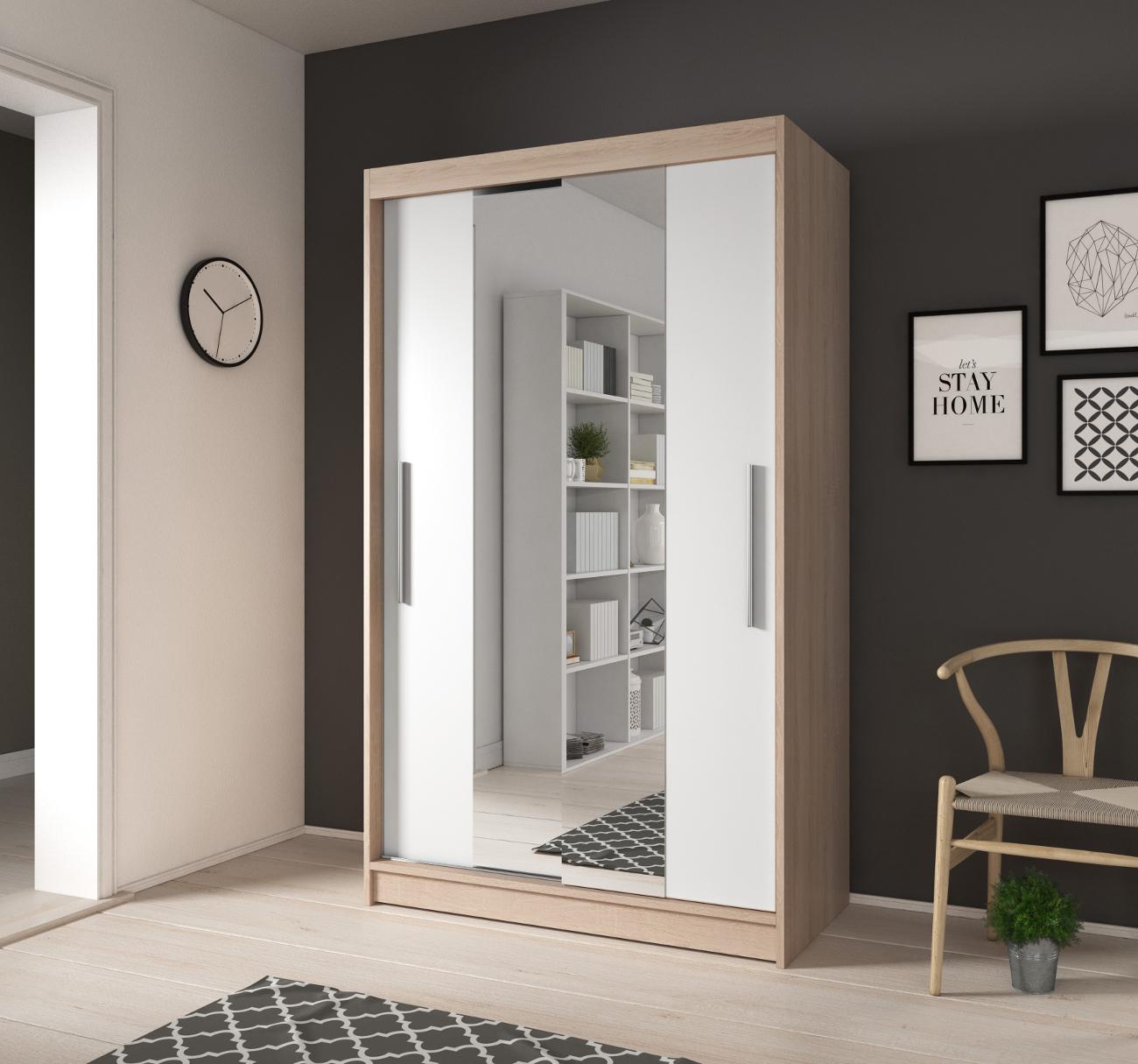 kleiner kleiderschrank mit spiegel schiebe t ren schrank wei 120 cm noah01 ebay. Black Bedroom Furniture Sets. Home Design Ideas