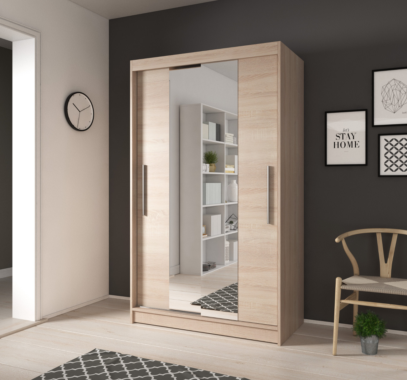 kleiner kleiderschrank mit spiegel schwebet ren wei sonoma 120 cm noah01 ebay. Black Bedroom Furniture Sets. Home Design Ideas