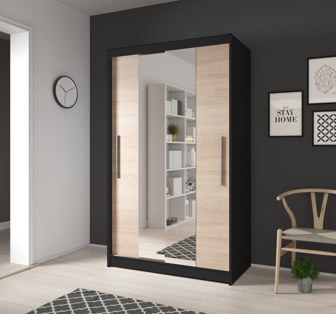 kleiner kleiderschrank mit spiegel schiebet ren beige schwarz 120 cm noah01 ebay. Black Bedroom Furniture Sets. Home Design Ideas