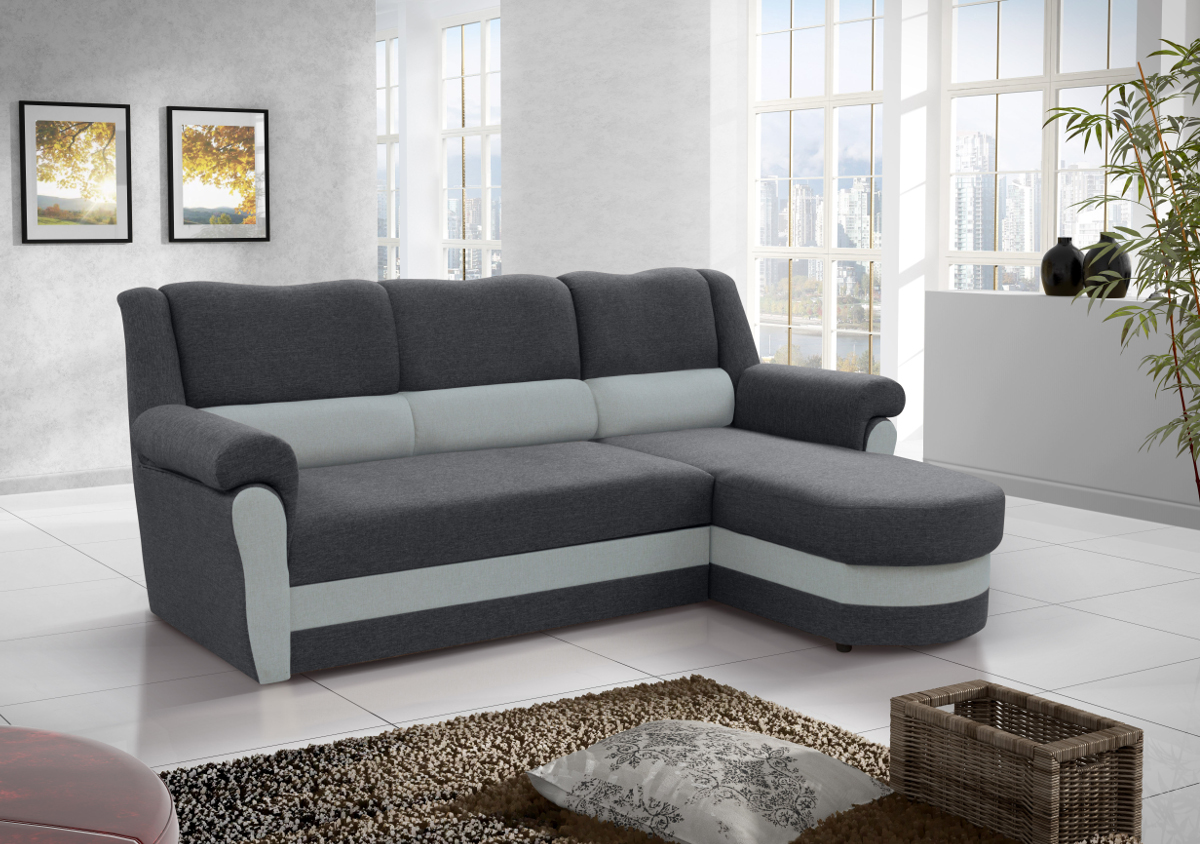 ecksofa mit schlaffunktion couch wohnlandschaft polsterecke l form grau cannes ebay. Black Bedroom Furniture Sets. Home Design Ideas