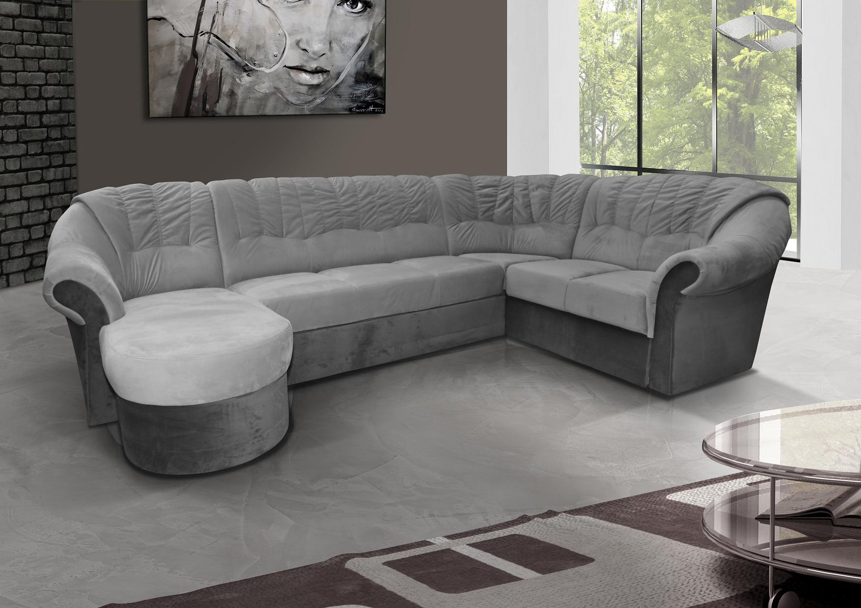 eckcouch mit schlaffunktion ecksofa couch wohnlandschaft u form grau frio 2 ebay. Black Bedroom Furniture Sets. Home Design Ideas