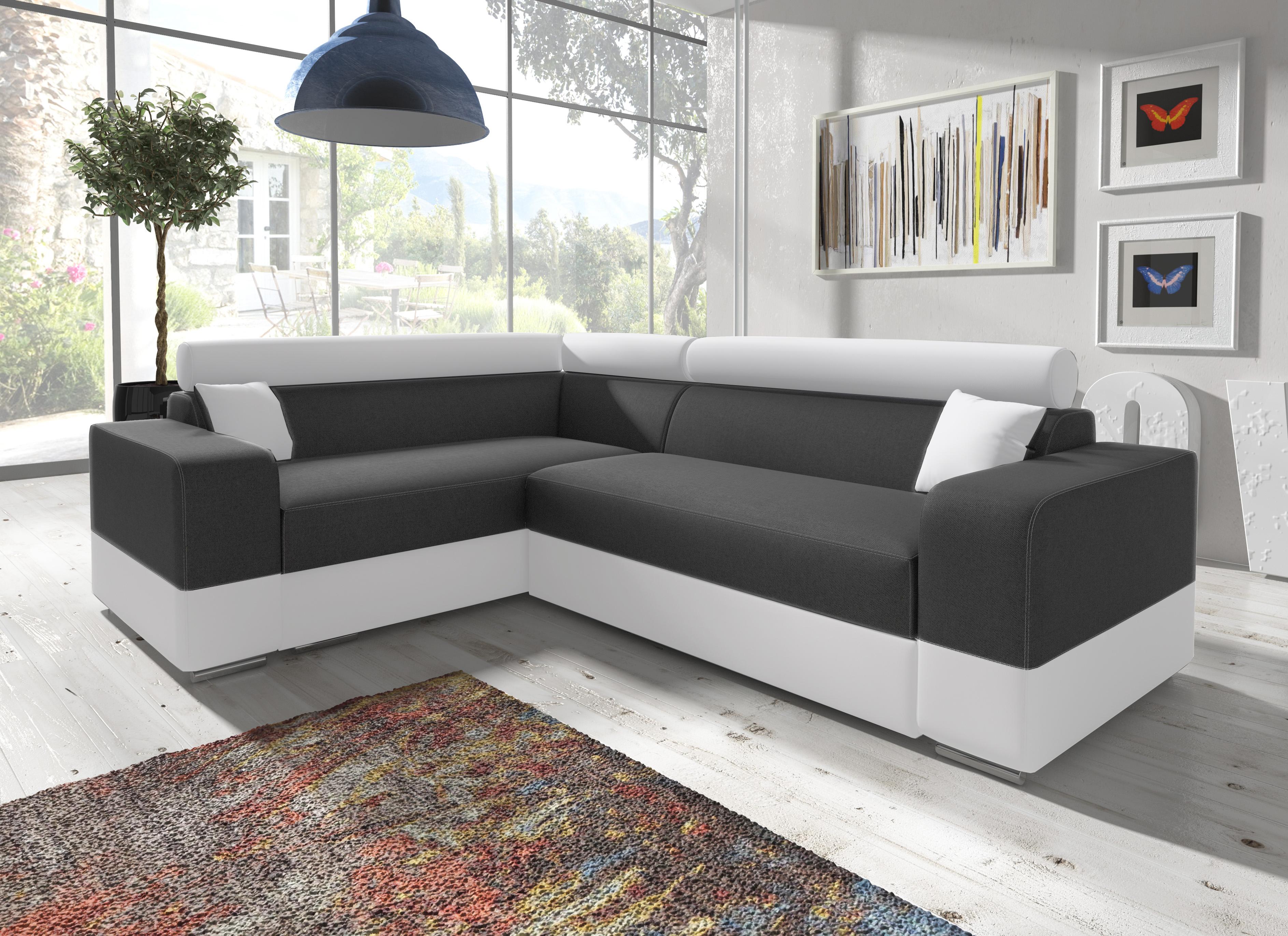 kleines ecksofa mit schlaffunktion und bettkasten sofa grau wei georg mini ebay. Black Bedroom Furniture Sets. Home Design Ideas