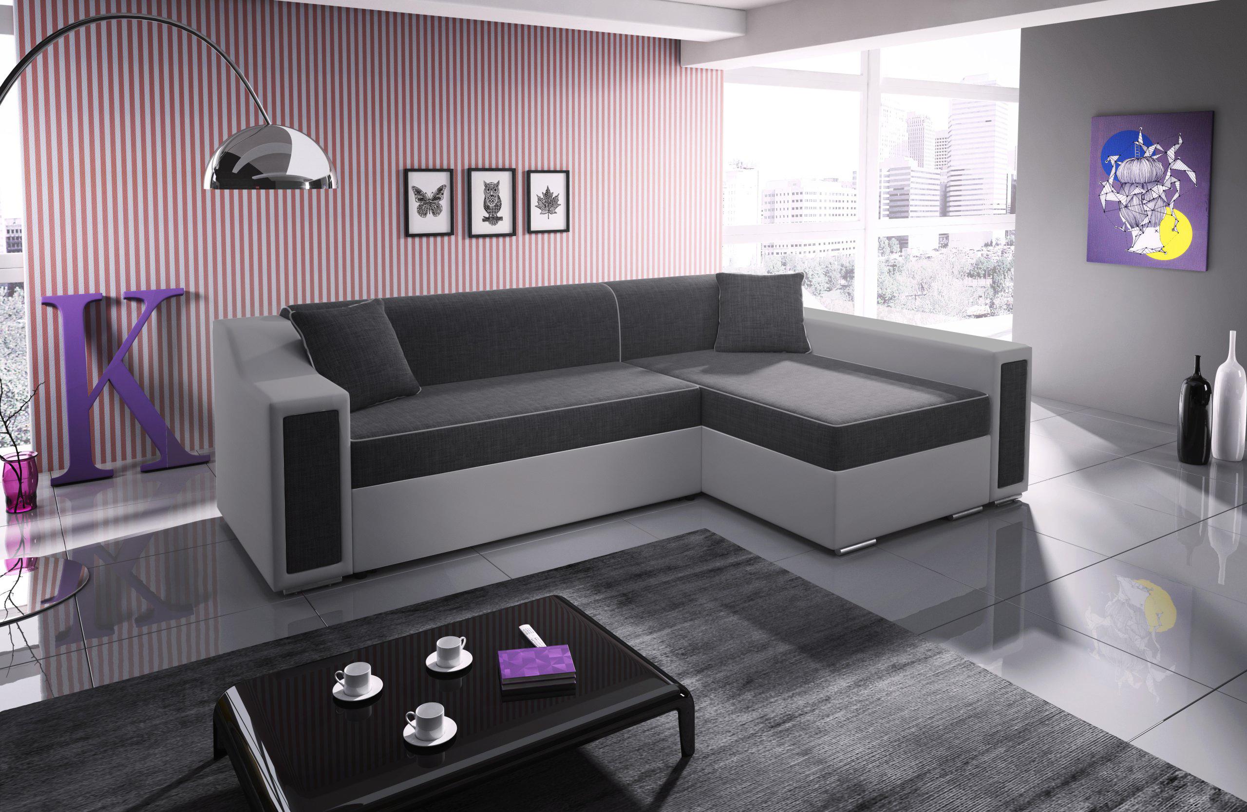 ecksofa mit schlaffunktion und bettkasten couch sofa violett horst mini ebay. Black Bedroom Furniture Sets. Home Design Ideas