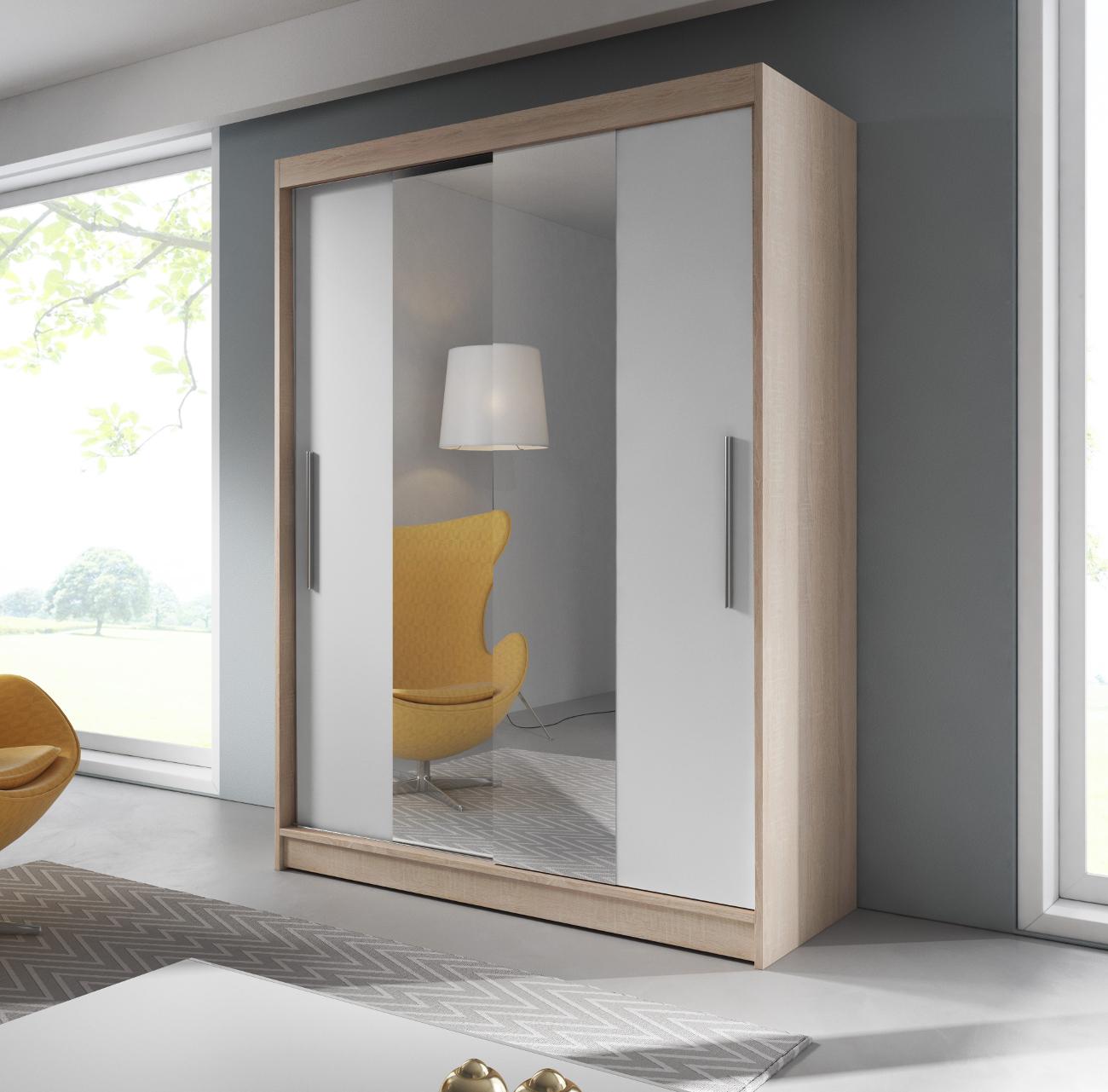 kleiderschrank mit spiegel schiebet ren schrank g5rderobe wei 150 cm lara 01 ebay. Black Bedroom Furniture Sets. Home Design Ideas